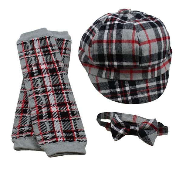 Boy Cabbie Hat, Tie and Legwarmer Set - Red Grey Black Plaid Set - Dream Lily Designs
