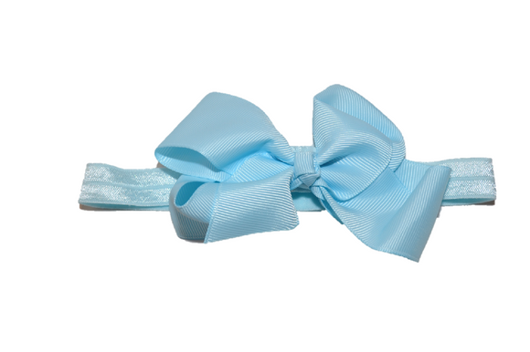 4 Inch Boutique Bow Headband - Baby Blue - Dream Lily Designs