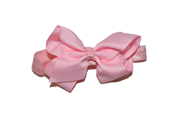 4 Inch Boutique Bow Headband - Baby Pink - Dream Lily Designs