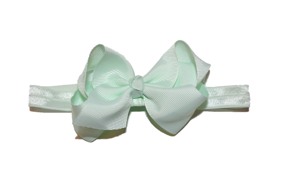 4 Inch Boutique Bow Headband - Light Mint - Dream Lily Designs
