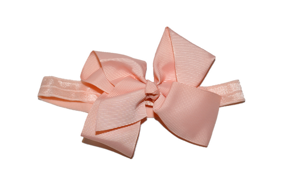4 Inch Boutique Bow Headband - Peach - Dream Lily Designs