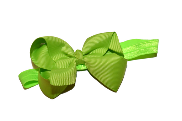4 Inch Boutique Bow Headband - Lime Green
