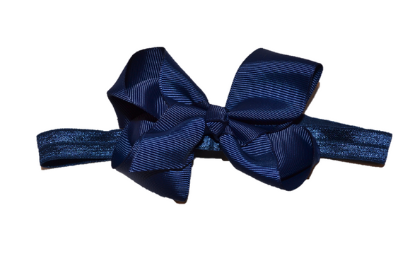 4 Inch Boutique Bow Headband - Navy Blue - Dream Lily Designs