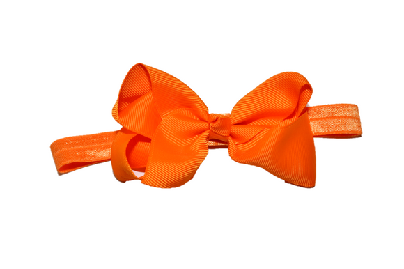 4 Inch Boutique Bow Headband - Orange - Dream Lily Designs