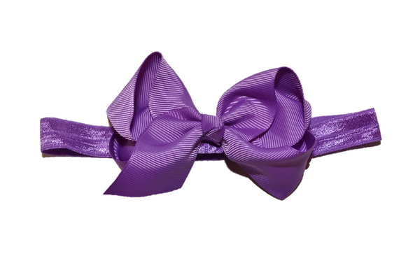 4 Inch Boutique Bow Headband - Purple - Dream Lily Designs