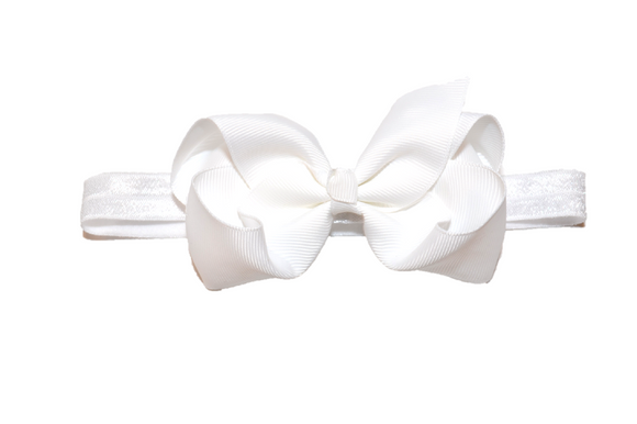 4 Inch Boutique Bow Headband - White - Dream Lily Designs