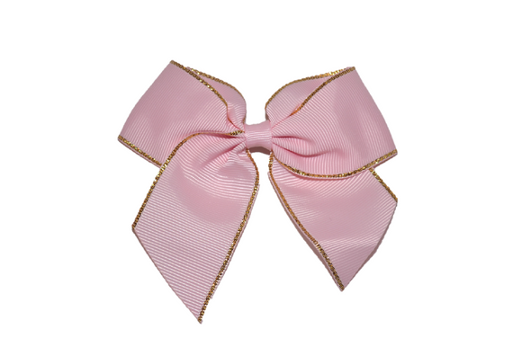 4 inch Cheer Bow Clip - Light Pink with Gold Trim