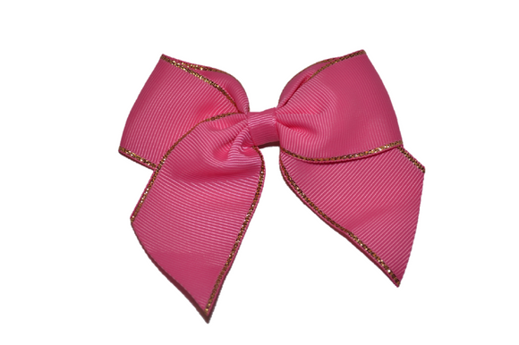 4 inch Cheer Bow Clip - Pink with Gold Trim