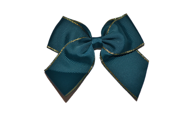 4 inch Cheer Bow Clip - Dark Emerald with Gold Trim