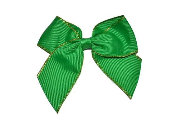 4 inch Cheer Bow Clip - Green with Gold Trim