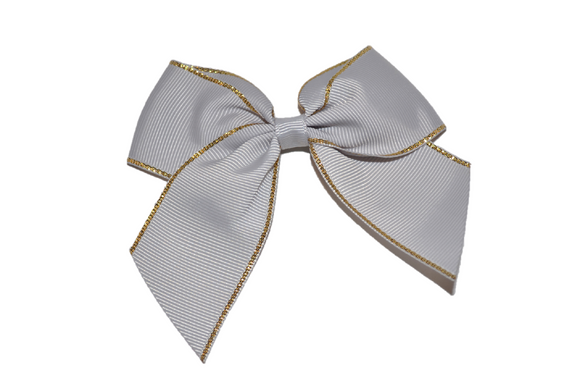 4 inch Cheer Bow Clip - Light Grey with Gold Trim