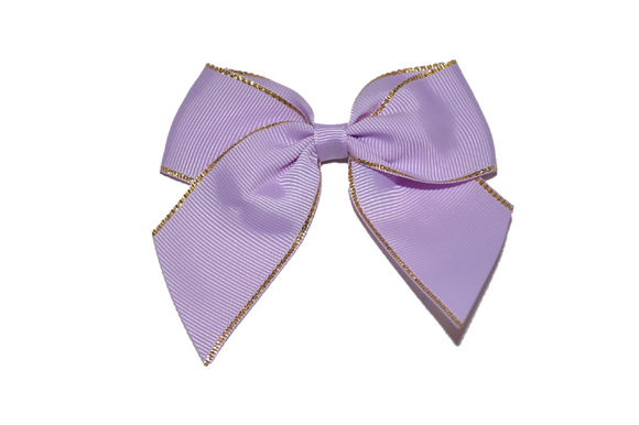 4 inch Cheer Bow Clip - Lavender with Gold Trim