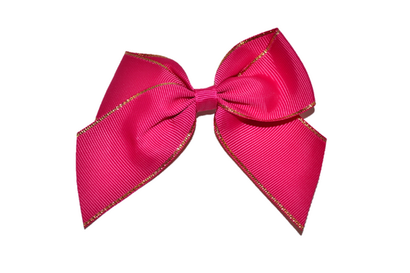 4 inch Cheer Bow Clip - Maroon with Gold Trim