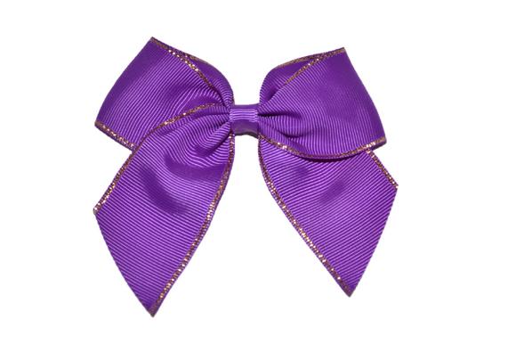 4 inch Cheer Bow Clip - Purple with Gold Trim - Dream Lily Designs