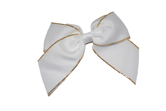4 inch Cheer Bow Clip - White with Gold Trim