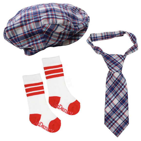 Boy Cabbie Hat, Tie and Socks Set - Red, White and Blue Plaid - Dream Lily Designs