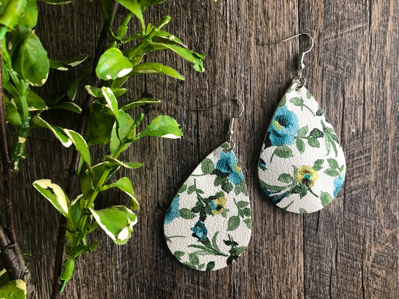 Teal Blue Green Yellow Floral Teardrop Faux Leather Earrings - Dream Lily Designs