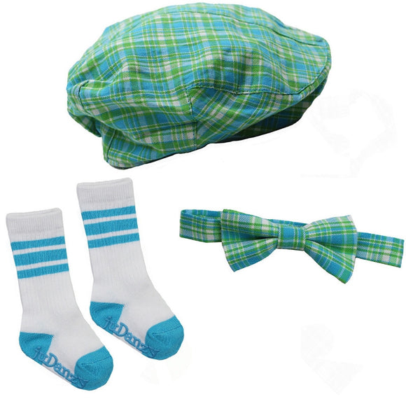 Boy Cabbie Hat, Tie and Socks Set - Blue and Green Plaid - Dream Lily Designs