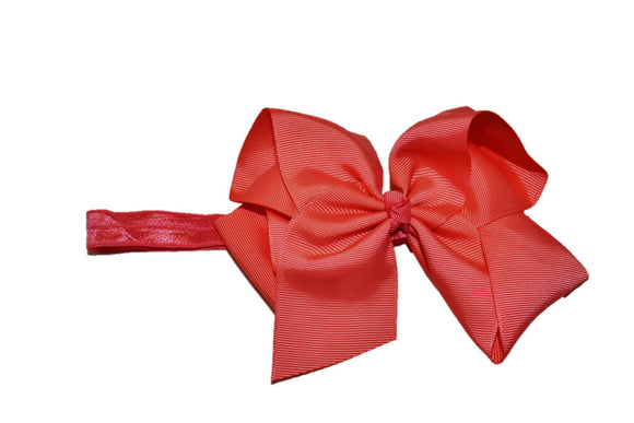 6 Inch Boutique Bow Headband - Coral