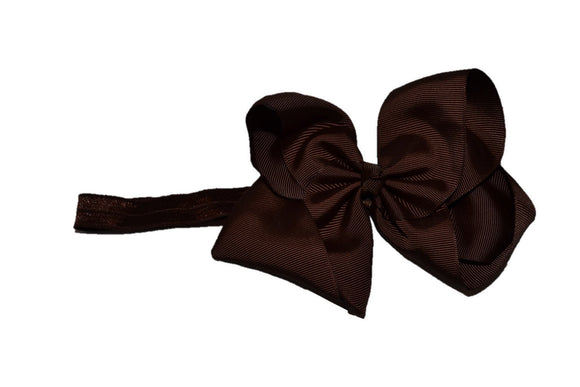 6 Inch Boutique Bow Headband - Brown