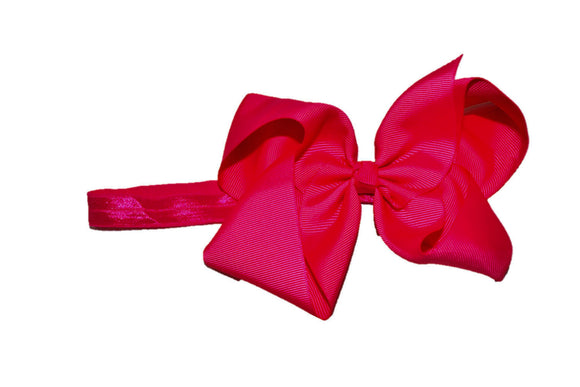 6 Inch Boutique Bow Headband - Hot Pink - Dream Lily Designs