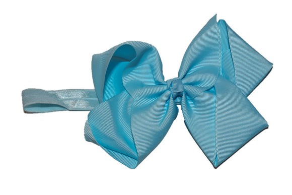 6 Inch Boutique Bow Headband - Light Blue