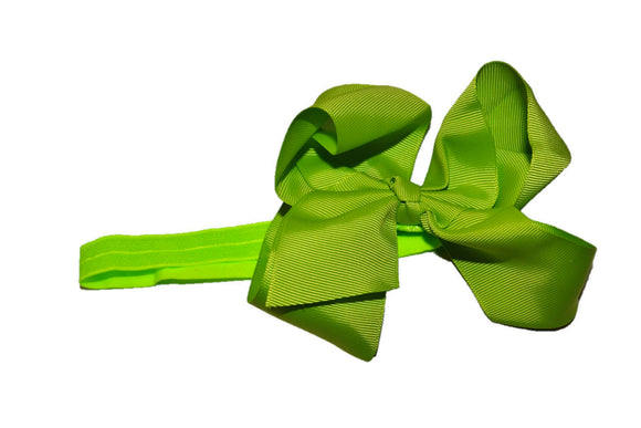 6 Inch Boutique Bow Headband - Lime Green