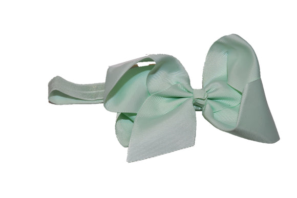6 Inch Boutique Bow Headband - Light Mint