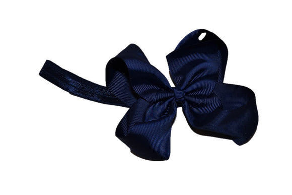 6 Inch Boutique Bow Headband - Navy Blue