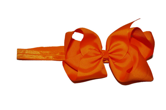 6 Inch Boutique Bow Headband - Orange
