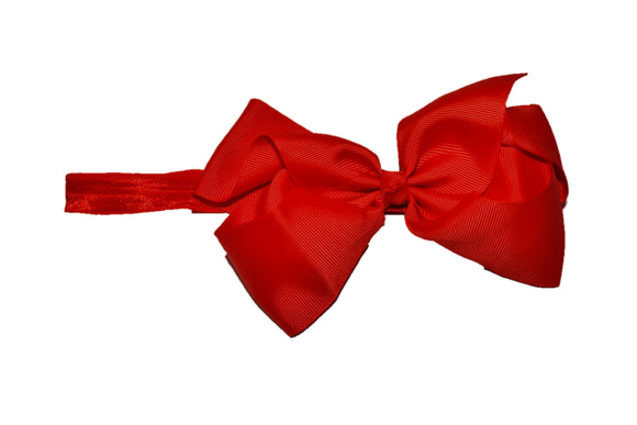 6 Inch Boutique Bow Headband - Red