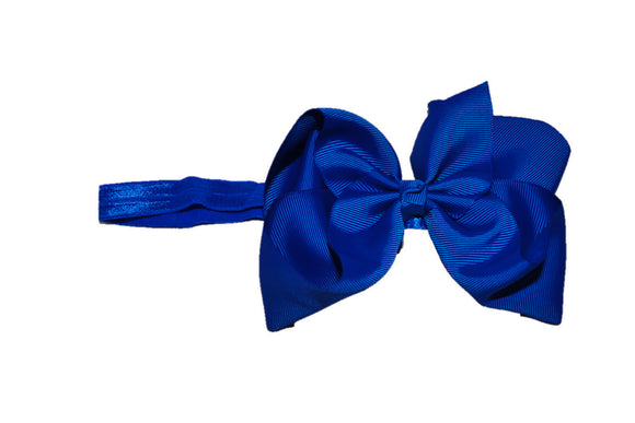 6 Inch Boutique Bow Headband - Royal Blue