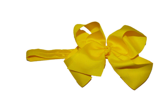 6 Inch Boutique Bow Headband - Yellow