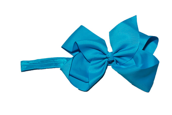 6 Inch Boutique Bow Headband - Bright Blue