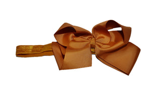 6 Inch Boutique Bow Headband - Light Brown