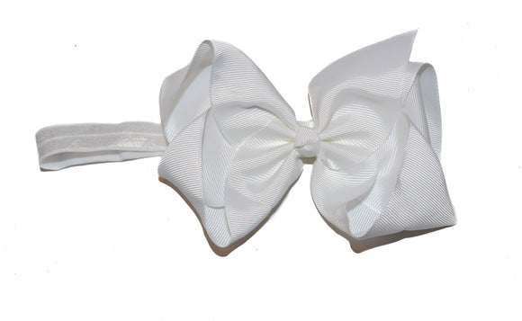 6 Inch Boutique Bow Headband - White - Dream Lily Designs
