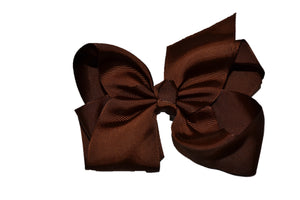 Brown 6 Inch Boutique Hair Bow - Dream Lily Designs