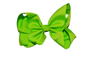 Bright Green 6 Inch Boutique Hair Bow - Dream Lily Designs