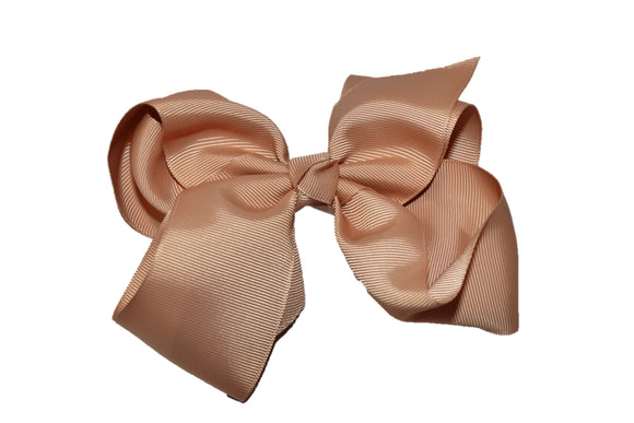 Tan 6 Inch Boutique Hair Bow - Dream Lily Designs