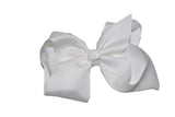 White 6 Inch Boutique Hair Bow - Dream Lily Designs