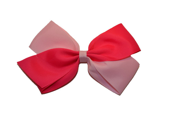 Large Hot Pink Light Pink School Spirit Hair Bow - Dream Lily Designs