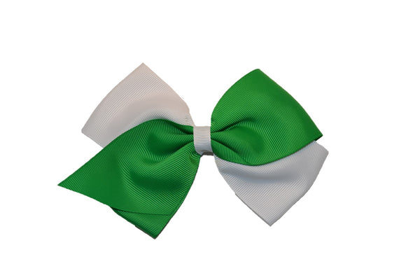 Large White Green School Spirit Hair Bow - Dream Lily Designs