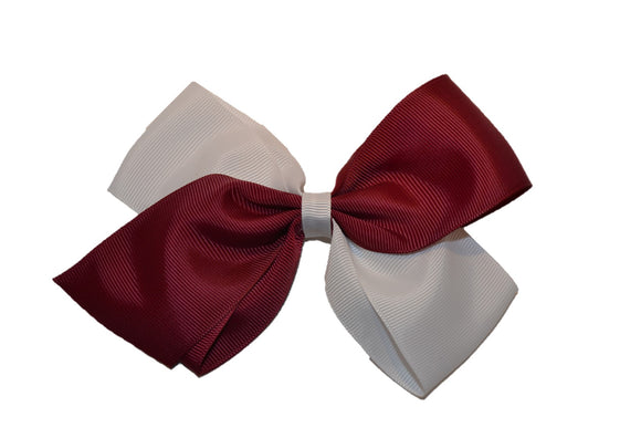 Large Maroon White School Spirit Hair Bow - Dream Lily Designs