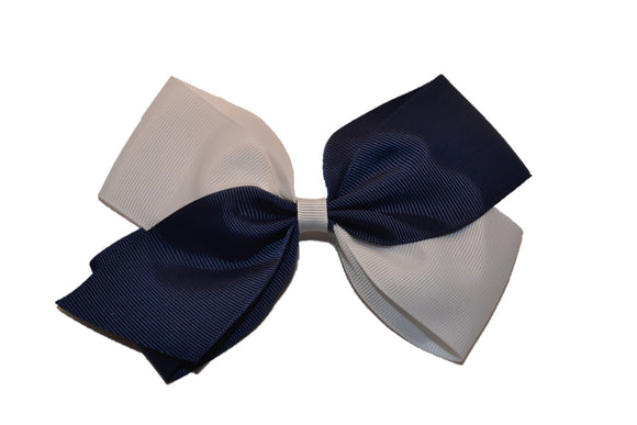 Large Navy Blue White School Spirit Hair Bow - Dream Lily Designs