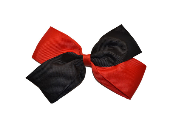 Large Red Black School Spirit Hair Bow - Dream Lily Designs