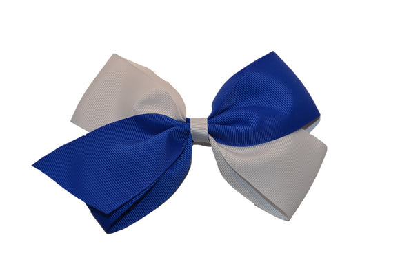 Large Blue White School Spirit Hair Bow - Dream Lily Designs