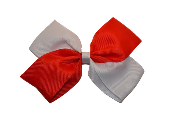 Large Red White School Spirit Hair Bow - Dream Lily Designs