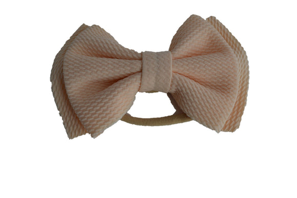 Light Peach Fabric 6 Inch Double Bowtie Baby Headband - Dream Lily Designs