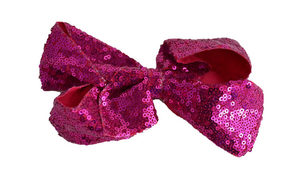 Sequin Boutique Bow 6 Inches - Hot Pink - Dream Lily Designs