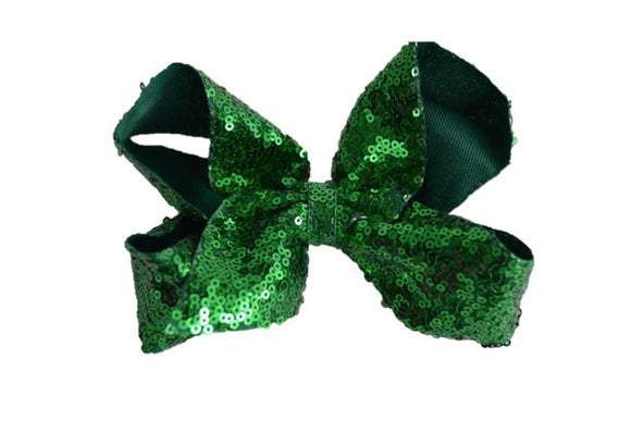 Sequin Boutique Bow 6 Inches - Kelly Green - Dream Lily Designs
